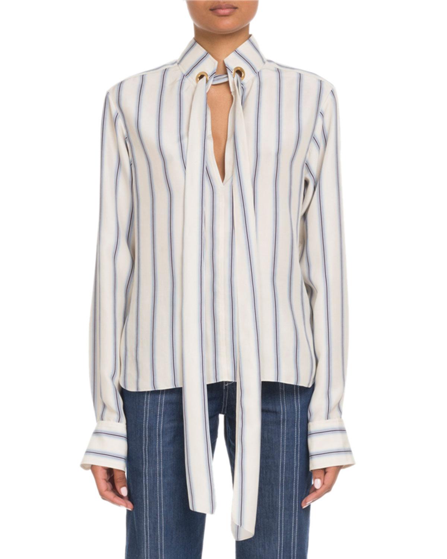 adaa304637e673 Chloe Tie-Neck Keyhole-Front Long-Sleeve Striped Silk Blouse ...