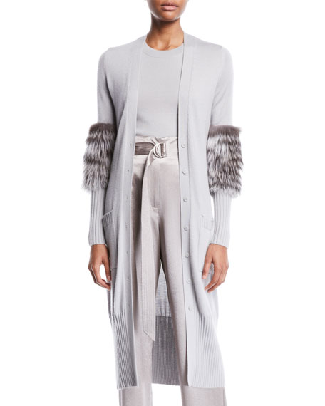 SALLY LAPOINTE Fur-Sleeve Button-Front Long Cashmere-Silk Cardigan in Light Gray