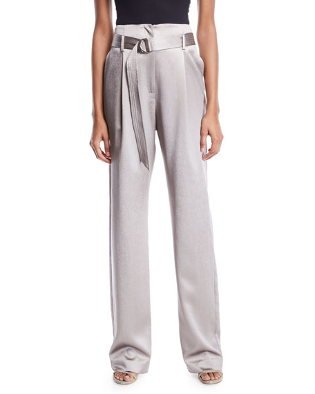 Sally LaPointe High-Waist Belted Straight-Leg Stretch Silk Pants