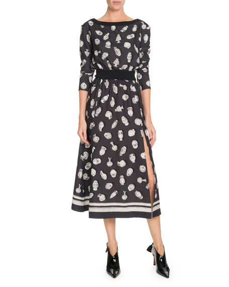 Altuzarra Paola Boat-Neck Pottery-Print A-Line Midi Dress w/ Ribbed Trim