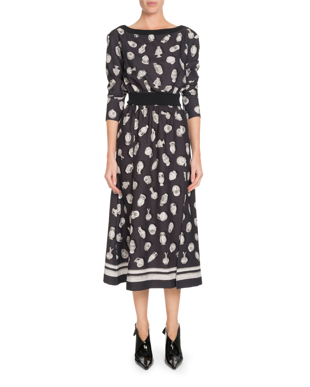 7afc77399d0 Altuzarra Paola Boat-Neck Pottery-Print A-Line Midi Dress w  Ribbed ...
