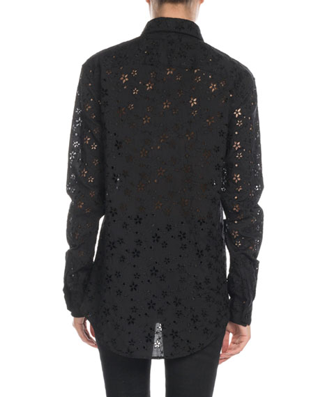Saint Laurent Star-Embroidered Eyelet Button-Front Blouse