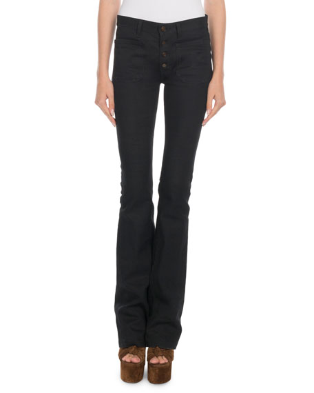 Saint Laurent Exposed-Button Flare Jeans