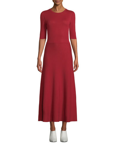 Seymore Elbow-Sleeve Crewneck Reversible Cashmere-Wool Mid-Calf Dress