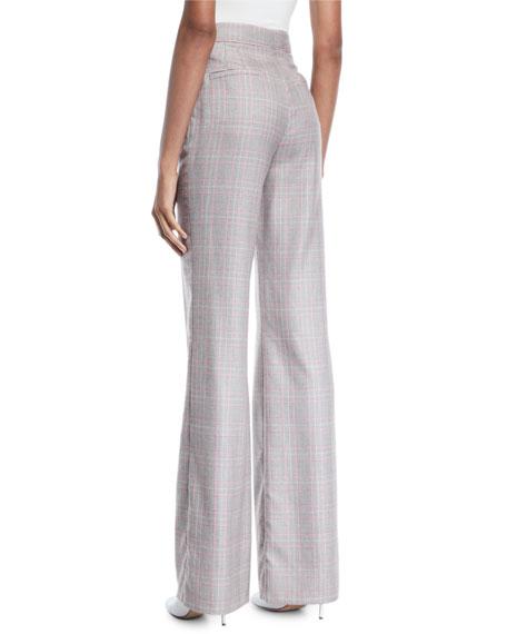Gabriela Hearst Vesta High-Waist Flared-Leg Plaid Cashmere Suiting Pants