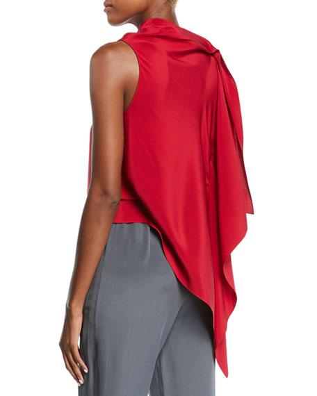 Roland Mouret Travistock Sleeveless Asymmetric Draped Silk Blouse