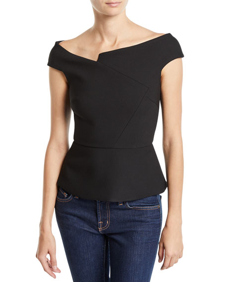 Roland Mouret ELMSWELL ASYMMETRIC OFF-THE-SHOULDER PEPLUM BLOUSE