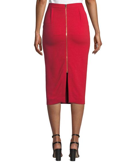 Roland Mouret Arreton Back-Zip Pencil Midi Skirt