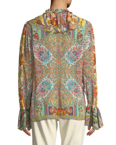 Etro Ruffled Medallion-Floral Print Silk Blouse