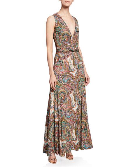 Etro Paisley Print Jersey Halter Gown