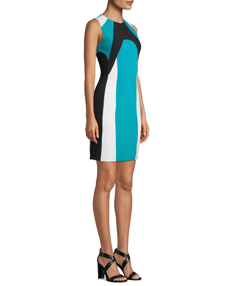 Image 4 of 4: Michael Kors Collection Colorblocked Stretch-Boucle Dress