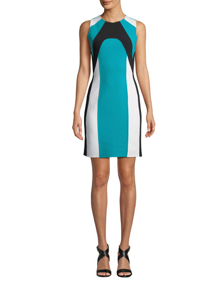 Image 1 of 4: Michael Kors Collection Colorblocked Stretch-Boucle Dress
