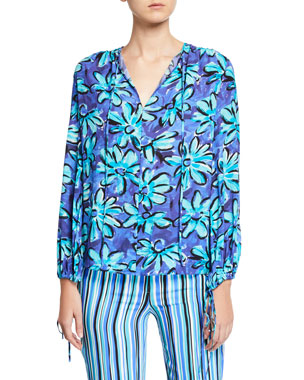 8a1ddef90a9bc1 Michael Kors Collection Painted Daisy Crushed Georgette Long-Sleeve Tunic  Blouse