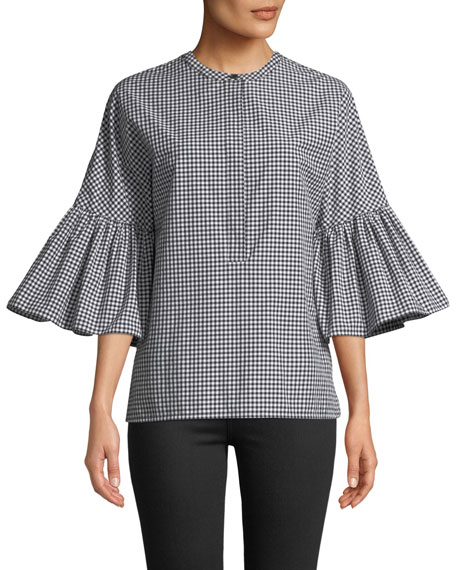Michael Kors Collection 1/2 Bell-Sleeve Micro-Gingham Blouse