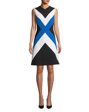 dff3fcbdf2675 Escada Sleeveless Colorblocked A-Line Dress. Favorite. Quick Look