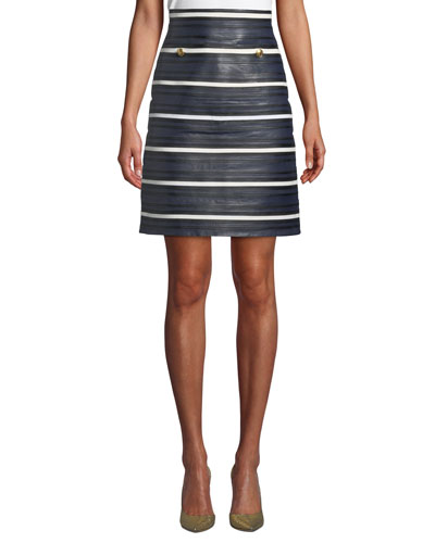 Leather Seamed-Stripe Pencil Skirt