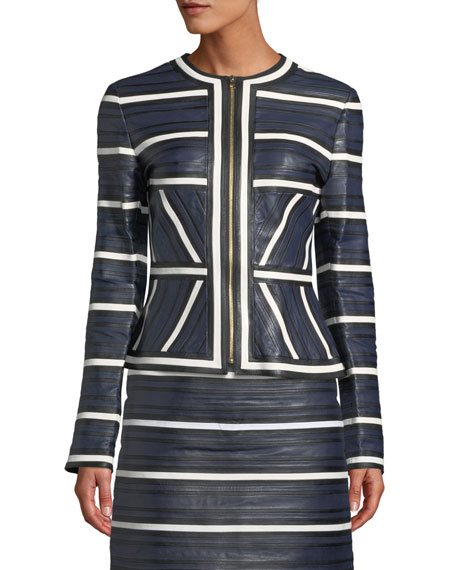 Escada Leather Seamed-Stripe Zip Jacket