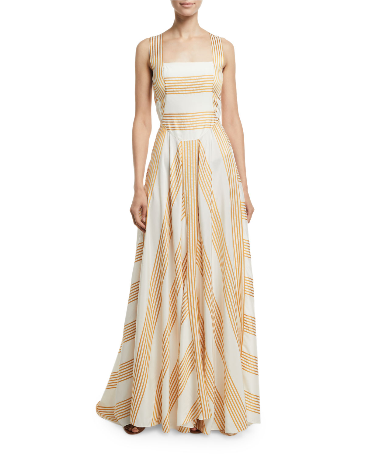 Camille Long Miter-Stripe Sundress by Loro Piana, available on neimanmarcus.com for $3500 Angelina Jolie Dress Exact Product