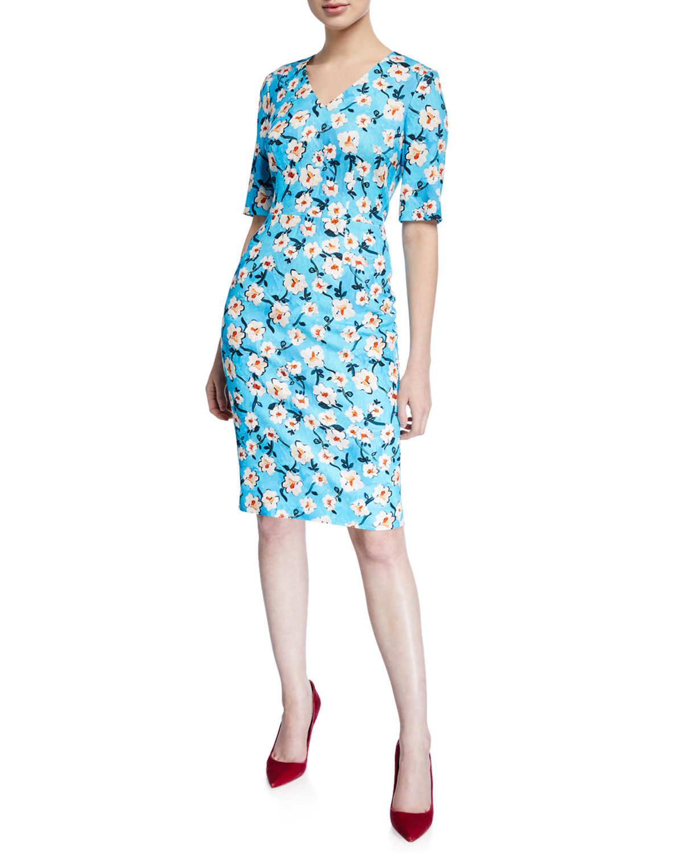 88769014022c Escada V-Neck Short-Sleeve A-Line Floral-Print Jersey Dress