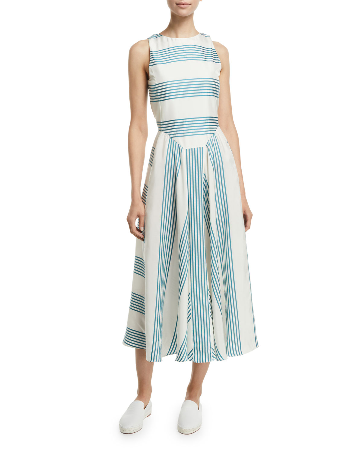 3e369e6e8ea Loro Piana Sleeveless Striped Silk Midi Dress