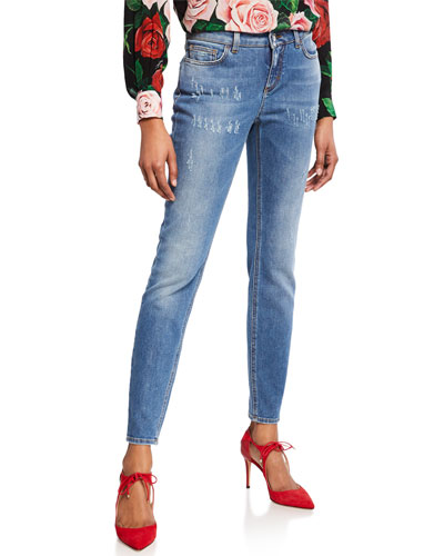 Kate Distressed Straight-Leg Jeans