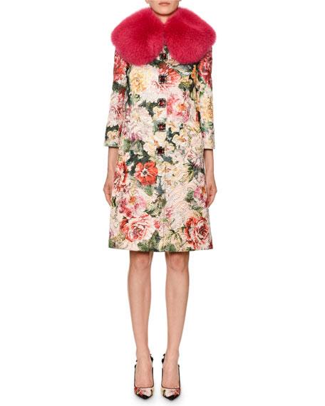 Dolce & Gabbana Shimmer Poppy Brocade Coat w/ Faux-Fur Collar