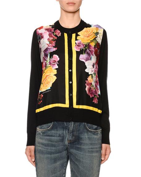 Dolce & Gabbana Floral-Print Silk-Front Cashmere Cardigan