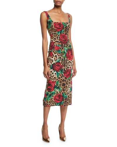 Sleeveless Square-Neck Rose & Leopard Print Dress