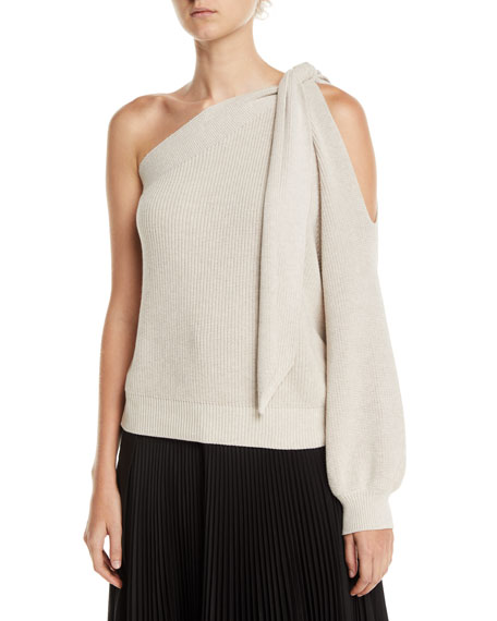Brunello Cucinelli Knotted One-Shoulder Ribbed Cotton Sweater