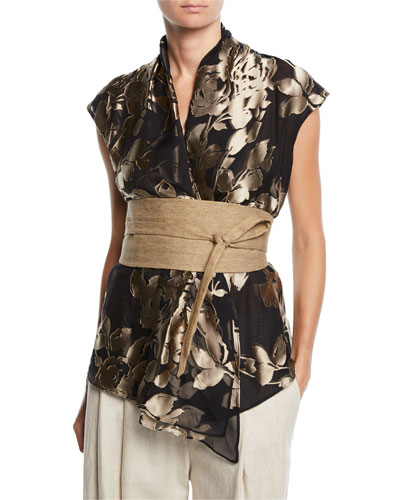 Sleeveless Foiled Floral Blouse w/ Canvas Belt