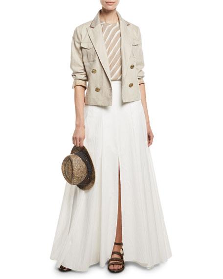 Brunello Cucinelli Slit-Leg Poplin Maxi Skirt
