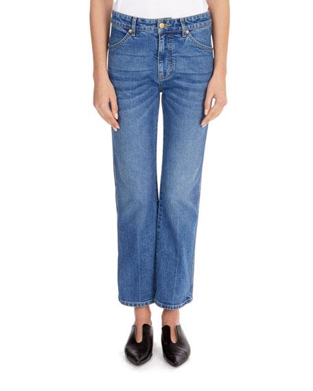 Victoria Victoria Beckham Mid-Rise Straight-Leg Crop Jeans