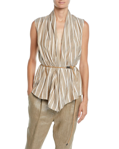 Brunello Cucinelli Sleeveless Striped Silk Wrap Top w/ Leather Belt