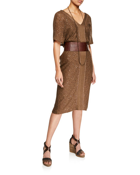 Brunello Cucinelli Paillette Linen/Silk Dress