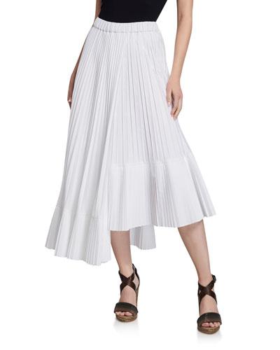 Cotton Faux Wrap Pleated Midi Skirt