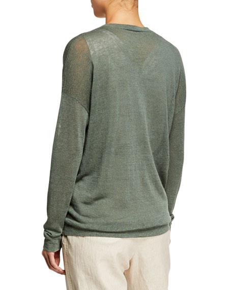 Brunello Cucinelli Linen Knit Long-Sleeve V-Neck Sweater with Monili Pocket