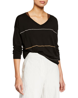 d6fb7055cd9a0d Brunello Cucinelli Cotton V-Neck Long-Sleeve Pullover Sweater w  Monili  Stripes