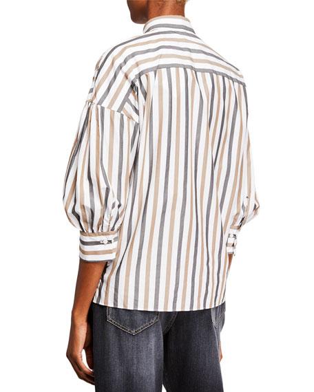 Brunello Cucinelli 3/4-Sleeve Striped Poplin Blouse with Monili Pocket