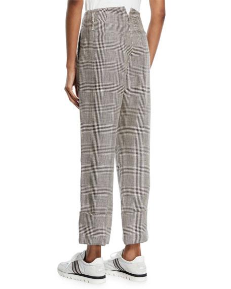 Brunello Cucinelli Cuffed Linen Houndstooth Pants