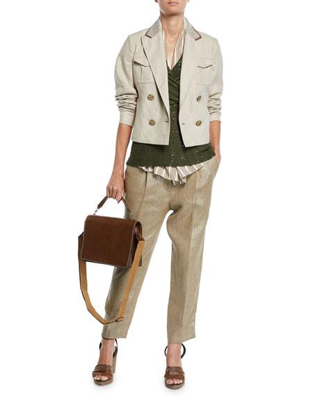 Brunello Cucinelli Pleated Metallic-Linen Straight-Leg Crop Pants