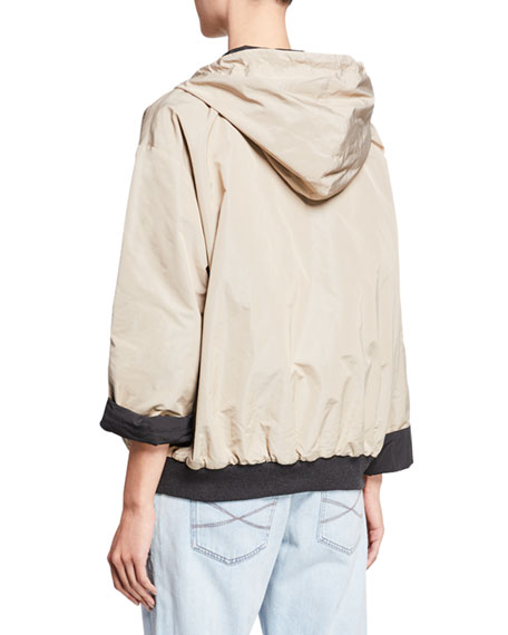 Brunello Cucinelli Reversible Taffeta Hooded Bomber Jacket