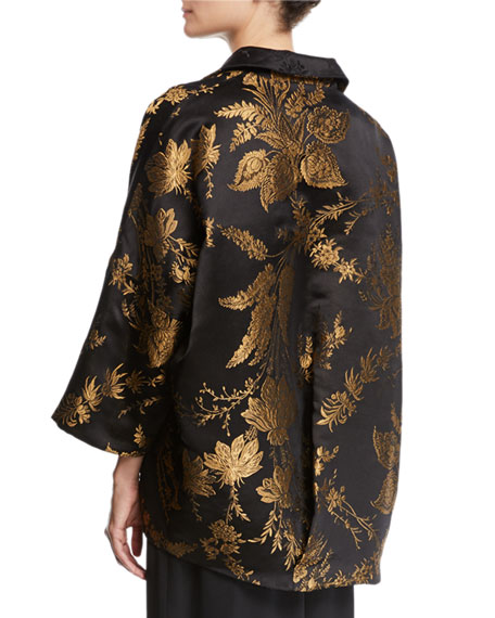 Image 2 of 2: 3/4-Sleeve Golden Floral-Jacquard Silk Jacket