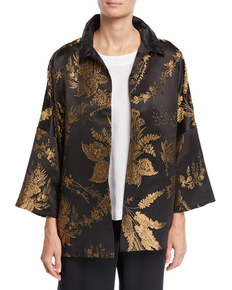 Image 1 of 2: 3/4-Sleeve Golden Floral-Jacquard Silk Jacket