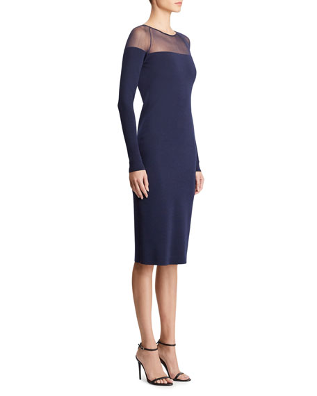 Ralph Lauren Collection Long-Sleeve Illusion Body-Con Dress