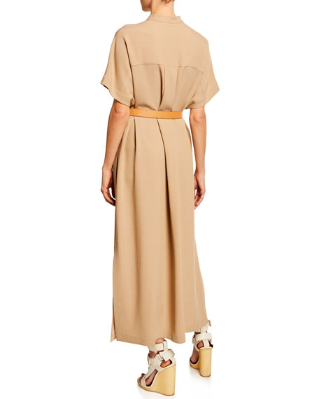 Agnona Short-Sleeve Button-Front Wool-Cady Kaftan Maxi Dress