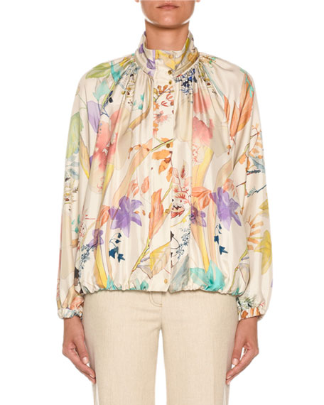 Agnona High-Neck Floral-Print Silk Bomber Jacket