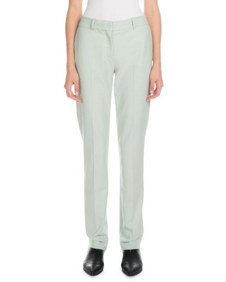 Victoria Victoria Beckham Mid-Rise Slim Straight-Leg Stretch-Wool Pants