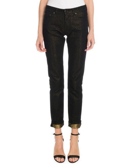 Victoria Victoria Beckham Skinny-Leg Jeans w/ Metallic Roll Cuff