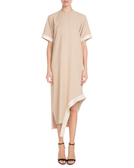 Victoria Beckham Short-Sleeve Asymmetric-Hem Shift Dress w/ Leather Belt
