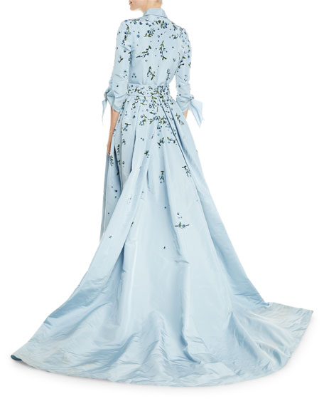 Carolina Herrera Tie-Sleeve Sparkle-Embroidered Trench Gown